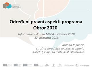 Određeni pravni aspekti programa Obzor 2020.