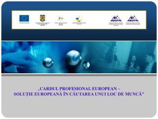 """"""" CARDUL PROFESIONAL EUROPEAN –  SOLUŢIE EUROPEANĂ ÎN CĂUTAREA UNUI LOC DE MUNCĂ"""""""