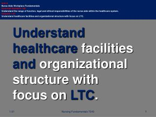 Understand healthcare  facilities  and  organizational structure with focus on  LTC .