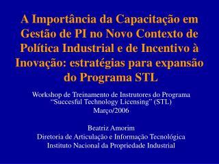 "Workshop de Treinamento de Instrutores do Programa ""Succesful Technology Licensing"" (STL)"