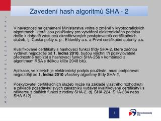 Zavedení hash algoritmů SHA - 2