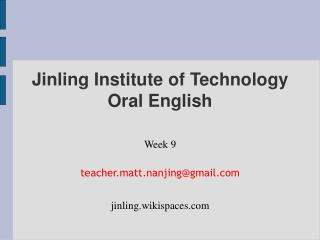 Jinling Institute of Technology Oral English