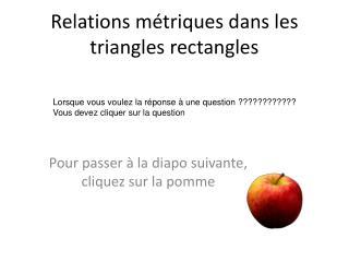 Relations métriques dans les triangles rectangles