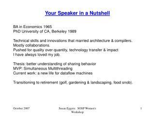 Your Speaker in a Nutshell