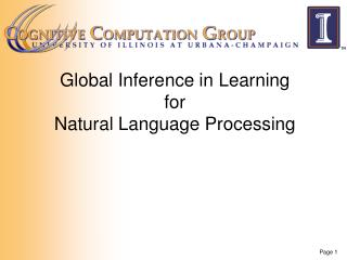 Global Inference in Learning  for  Natural Language Processing