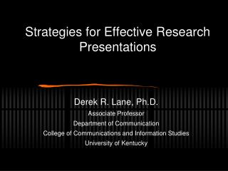 Strategies for Effective Research Presentations