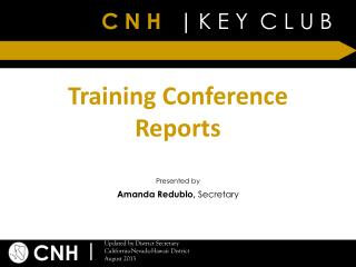 Training Conference Reports