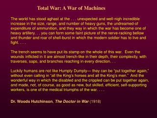 Total War: A War of Machines