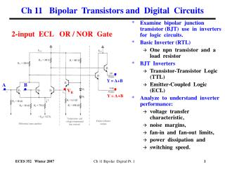 Ch 11   Bipolar  Transistors and  Digital  Circuits