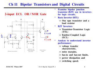 Ch 11   Bipolar  Transistors and  Digital  Circuits