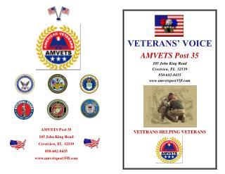VETERANS' VOICE AMVETS Post 35  105 John King Road Crestview, FL  32539 850-682-8435