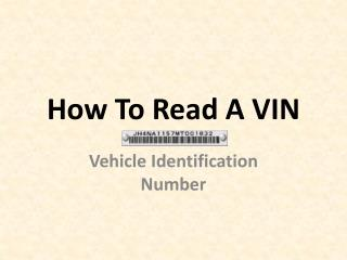 How To Read A VIN