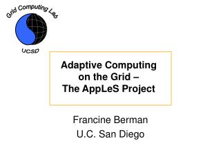 Adaptive Computing on the Grid – The AppLeS Project
