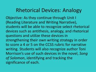 Rhetorical Devices: Analogy