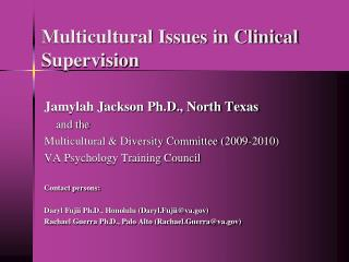 Multicultural Issues in Clinical Supervision
