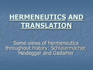 HERMENEUTICS AND TRANSLATION