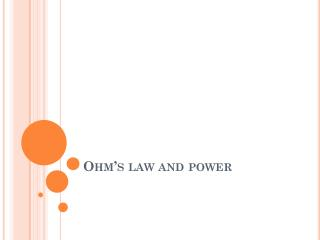 Ohm's law and power