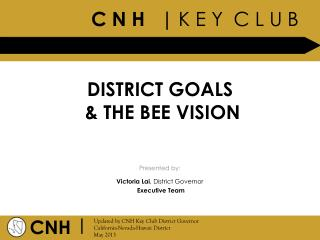 DISTRICT GOALS  & THE BEE VISION