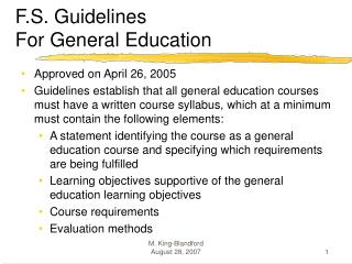 F.S. Guidelines  For General Education