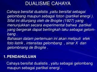 DUALISME CAHAYA