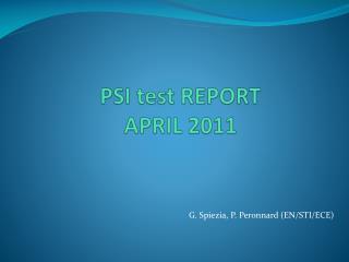 PSI test REPORT  APRIL 2011