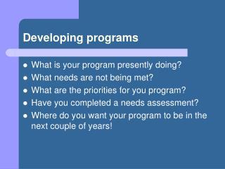 Developing programs