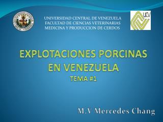 EXPLOTACIONES PORCINAS EN VENEZUELA TEMA #1