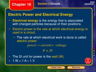 Electric Power and Electrical Energy
