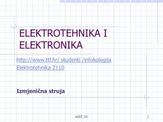 ELEKTROTEHNIKA I ELEKTRONIKA