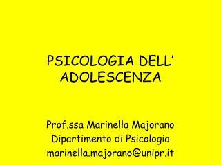 PSICOLOGIA DELL' ADOLESCENZA