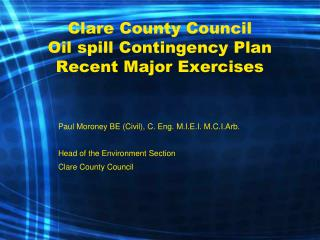 Clare County Council  Oil spill Contingency Plan Recent Major Exercises
