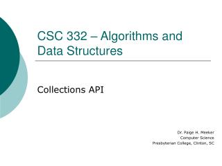 CSC 332 – Algorithms and Data Structures