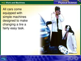 All cars come equipped with simple machines designed to make changing a tire a fairly easy task.