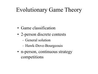 Evolutionary Game Theory