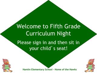 Welcome to Fifth Grade Curriculum Night