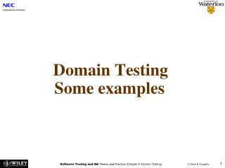 Domain Testing Some examples