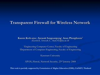 Transparent Firewall for Wireless Network