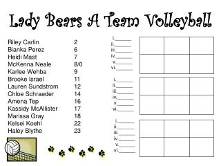 Lady Bears A Team Volleyball