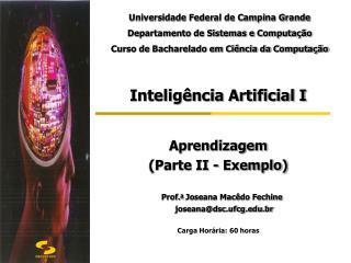 Inteligência Artificial I Aprendizagem  (Parte II - Exemplo) Prof. a  Joseana Macêdo Fechine