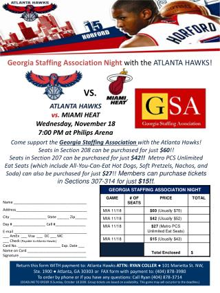 Georgia Staffing Association Night  with the  ATLANTA HAWKS!