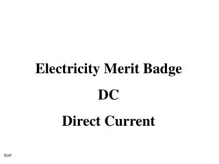 Electricity Merit Badge  DC Direct Current