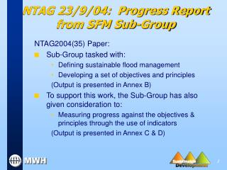 NTAG 23/9/04:  Progress Report from SFM Sub-Group