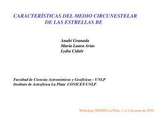 Workshop GEMINI-La Plata, 2 al 4 de junio de 2010