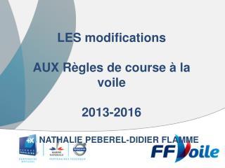 LES modifications  AUX Règles de course à la voile 2013-2016  NATHALIE PEBEREL-DIDIER FLAMME