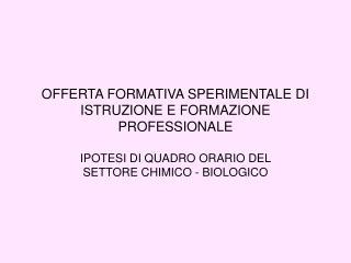 OFFERTA FORMATIVA SPERIMENTALE DI ISTRUZIONE E FORMAZIONE PROFESSIONALE