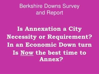 Berkshire Downs Survey  and Report