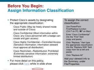Before You Begin: Assign Information Classification