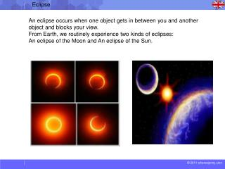 An eclipse occurs when one object gets in between you and another object and blocks your view.