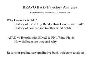 BRAVO Back-Trajectory Analyses