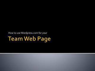 Team Web Page